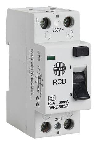 WYLEX WRDS63/2  2P 30Ma 63A Dc Type A Rcd